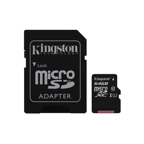Kingston MicroSDXC 64GB Class 10 SDC10G2/64GB memóriakártya adapterrel