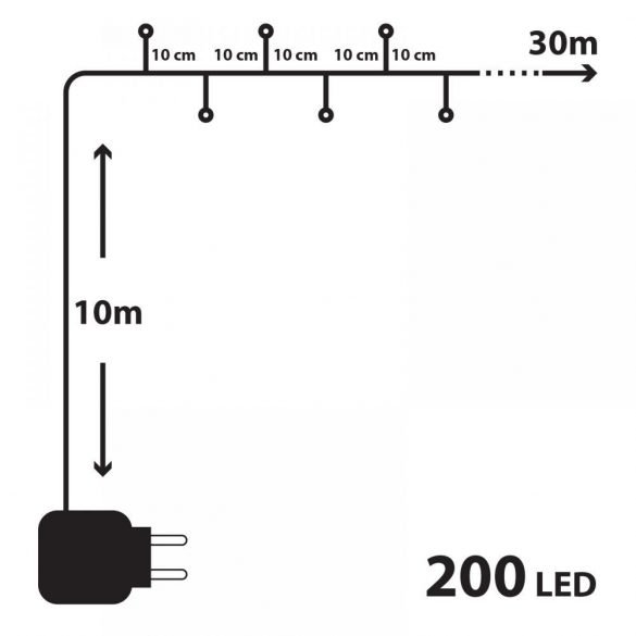 200 LED-es szines égősor (55217)