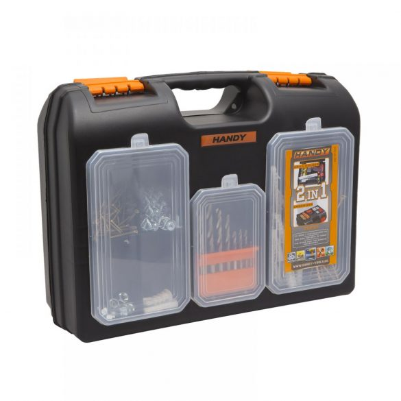 2 az 1-ben műanyag fúró + alkatrész tároló táska (10958)