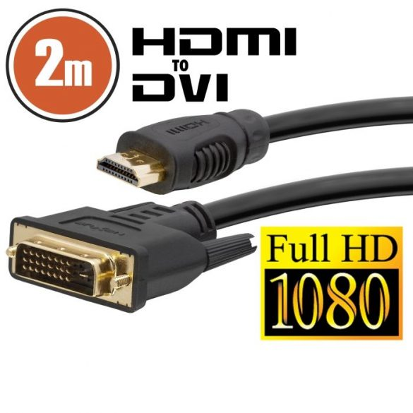 DVI -HDMI kábel aranyozott csatlakozóval - 2m (20380)