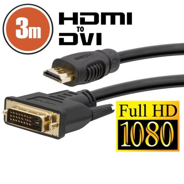 DVI -HDMI kábel aranyozott csatlakozóval - 3m (20381)