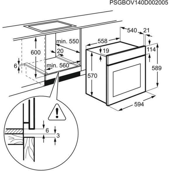 Electrolux EZB3410AOW beépíthető sütő