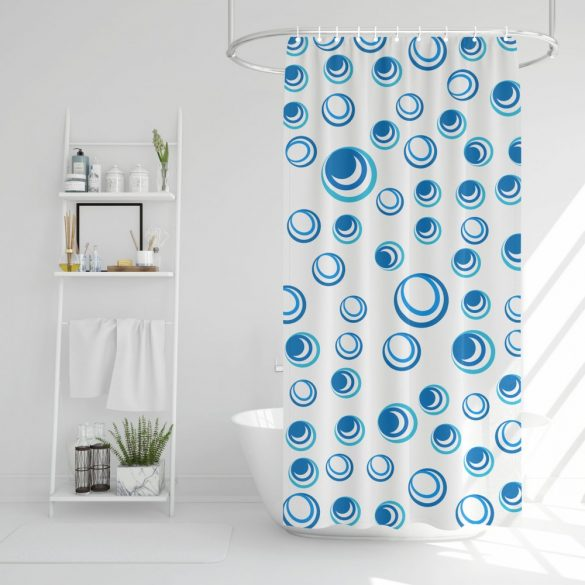 Family Pound zuhanyfüggöny - 183x183cm - kék-fehér mintás (11527C)
