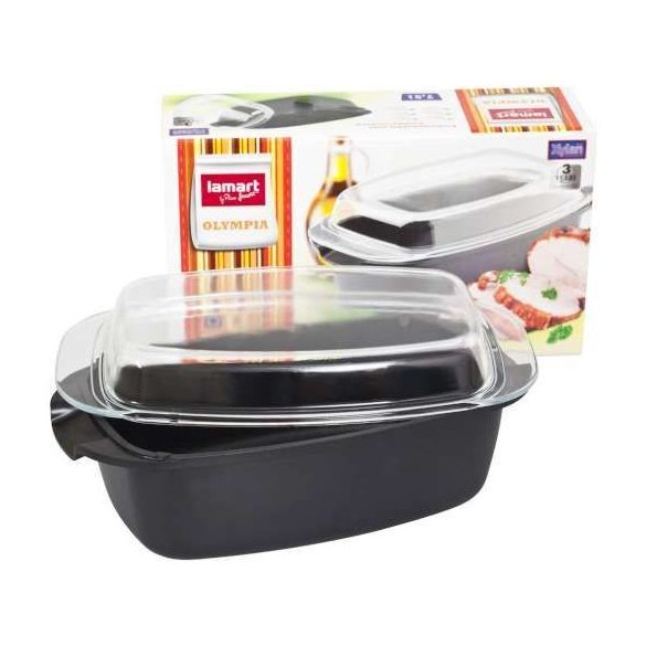 Lamart HL0801 7,5 l-es sütőtál üveg fedővel