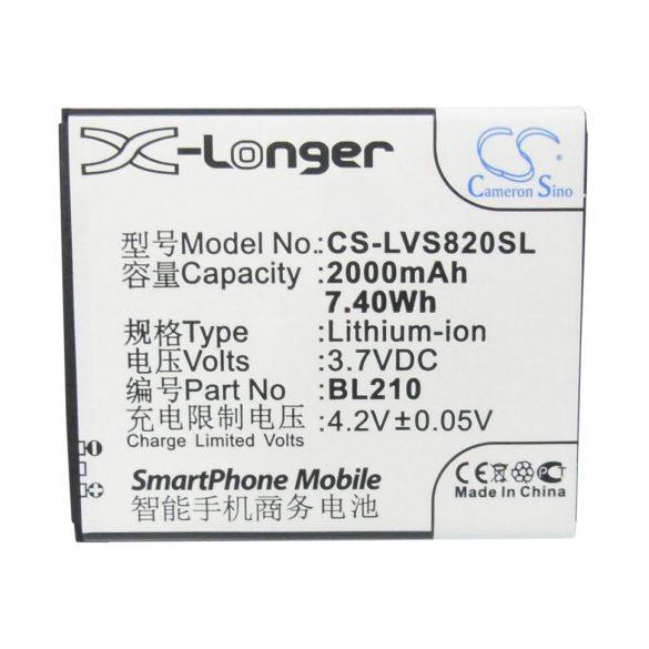 Lenovo BL210 3.7V 2000mAh utángyártott Li-Ion akkumulátor