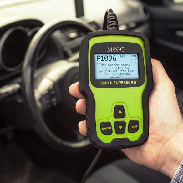 MNC Autó diagnosztikai eszköz - hibakód kiolvasó - OBD2 - 12V (55679)