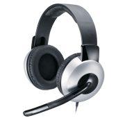 Genius Fejhallgató - HS-05A (3.5mm Jack, hangerőszabályozó, mikrofon, fekete-ezüst)