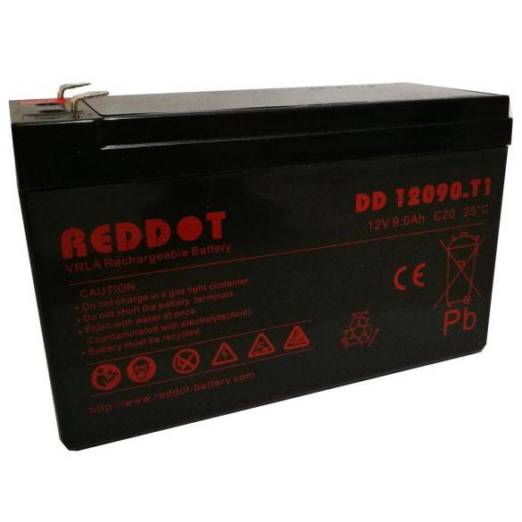 RedDot DD12090 12V 9Ah zselés akkumulátor T1 (riasztóközpont, sziréna)