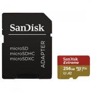 SanDisk microSD Extreme kártya adapterrel 256GB 160MBps A2 C10 V30 UHS-I U3 (183507)