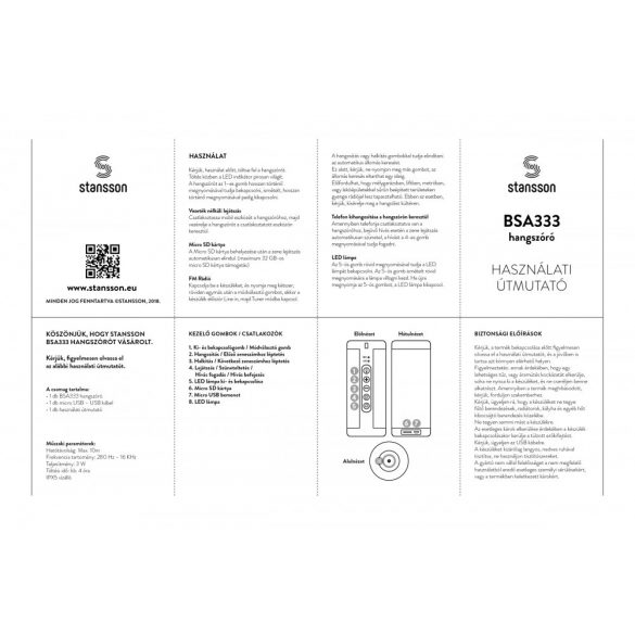 Stansson BSA333B Bluetooth hangszóró - fekete
