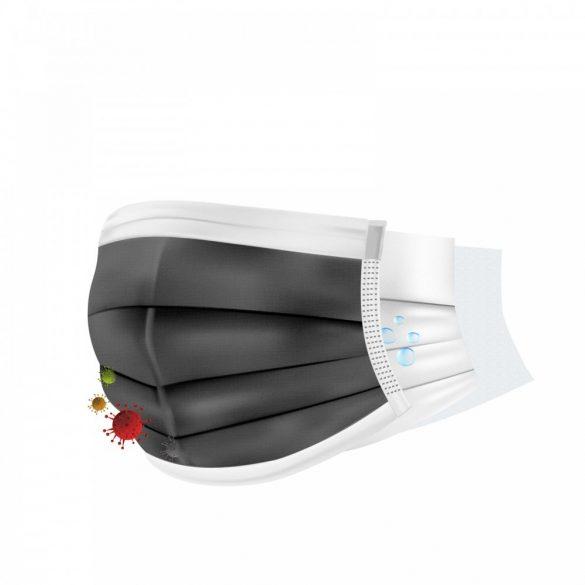 Szájmaszk - 3 rétegű - fekete (PR069F)
