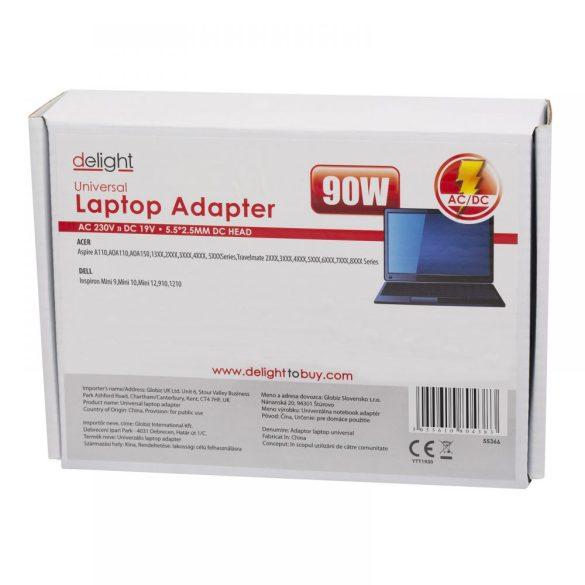 DeLight Univerzális laptop-notebook töltő adapter tápkábellel (55365)